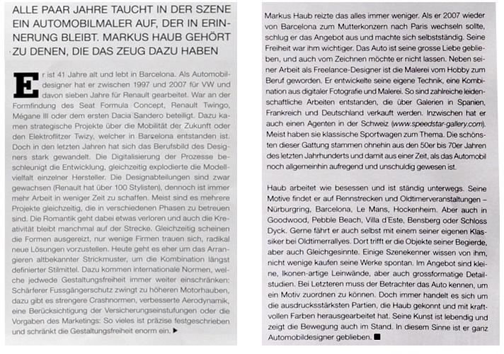 November 2013: article @ VECTURA Magazine #8, Switzerland