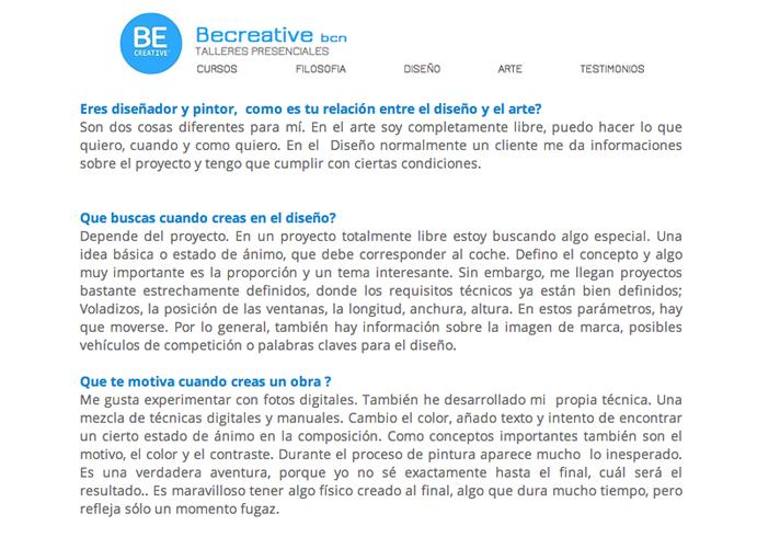 October 2014: Interview @ Becreative Barcelona